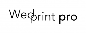 Logo for Wedprint pro. Wedding cards.