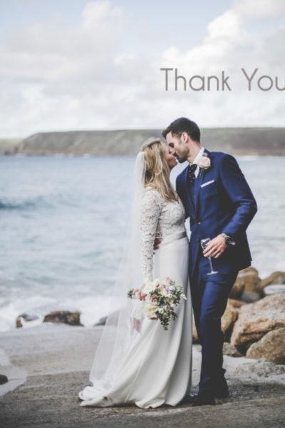Wedding thank you card - single image.