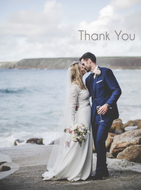 Wedding thank you card - single image.