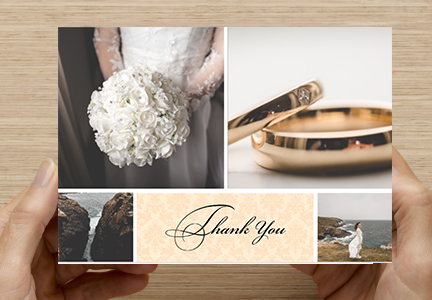 A template for designing your own wedding thank you cards